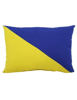 Yellow & Blue Diagonal Stripe Pillow 12x17