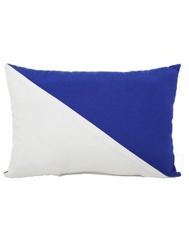 White & Blue Diagonal Stripe Pillow 12x17