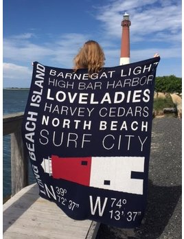 Long Beach Island Custom Throw Blanket Blue
