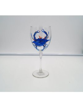 Blue Crab Hand Painted Goblet