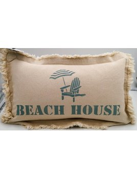 Beach House with Chair Pillow 12x18