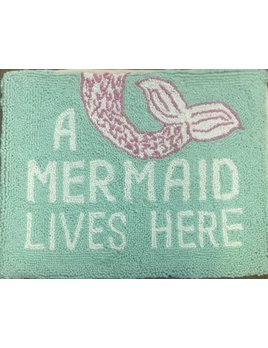 A Mermaid Lives Here Pillow 14x18