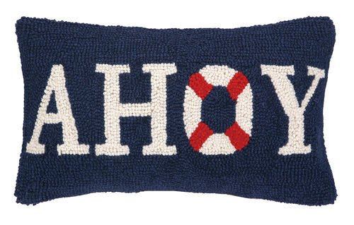 Ahoy Hooked Pillow 9x16