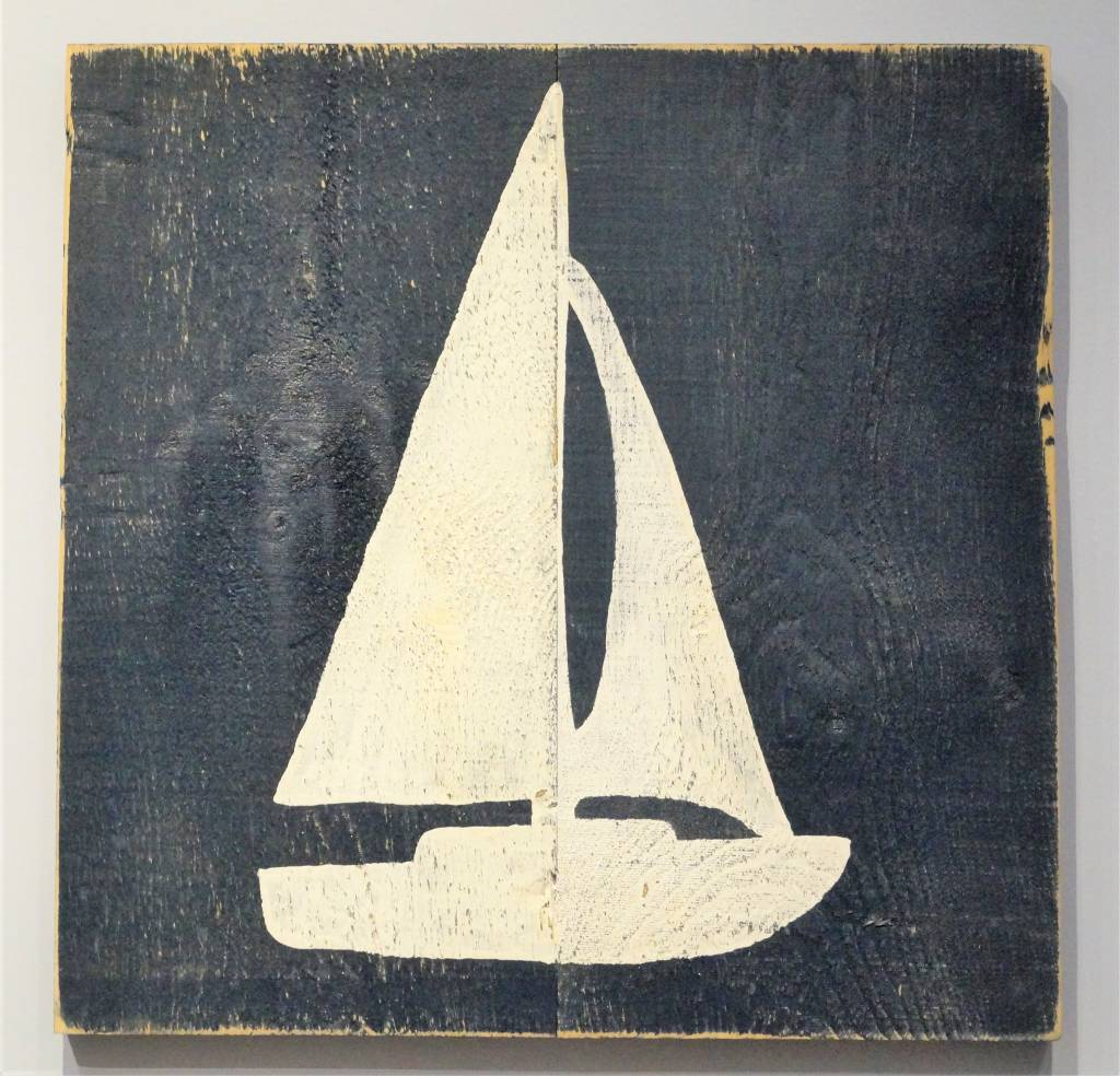Sailboat White on Indigo Streamer 24x24