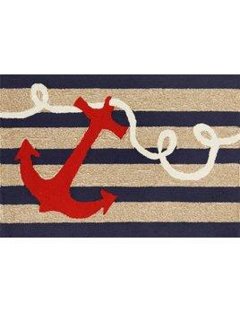 Navy Stripes Anchor Rug 24x60