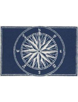 Compass Navy Rug  24x36