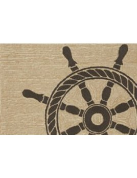 Black Ship Wheel Rug 24x36