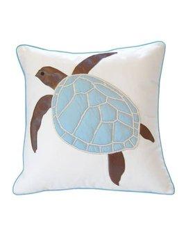 Turtle Applique Pillow Blue Shell