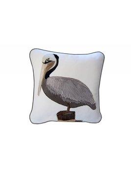 Brown Pelican Applique Pillow