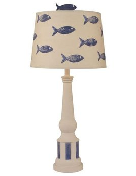 Striped Pedestal Accent Lamp Weathered Nude with Morninig Jewel(crab on shade)