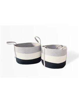 Oval Laundry Tote Basket Silver Grey White Dark Grey Small