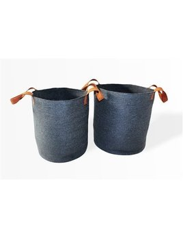 Oval Laundry Tote Basket Dark Grey Leather handles Small
