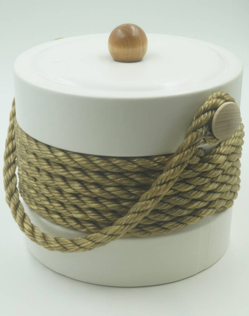White Tan Rope 3qt Ice Bucket