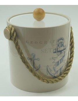 Beige Anchor Design 3 Qt Ice Bucket