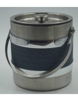 Stainless Steel 3Qt Blue Wicker Center Ice Bucket