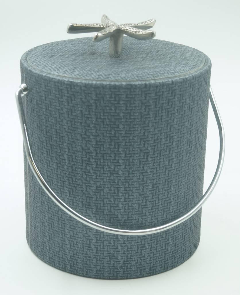Blue Wicker 3qt Starfish Knob Ice Bucket