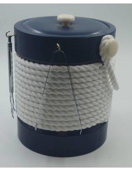 Blue castillian 5 qt rope Ice Bucket w tools