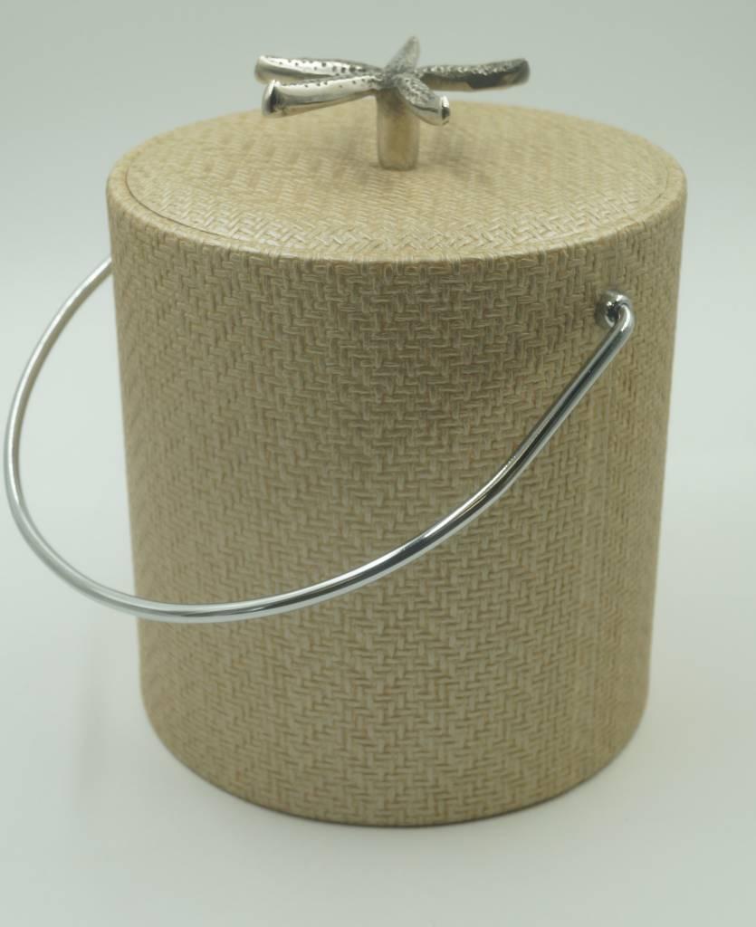 Beige Wicker 3qt Starfish Knob Ice Bucket