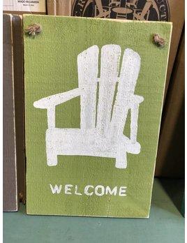 12x18 Welcome Adirondack Luau Green on Rope