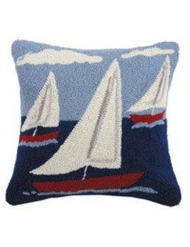 Sail Boat Trio Pillow 16x16