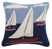 Sail Boat Trio Pillow 16x16