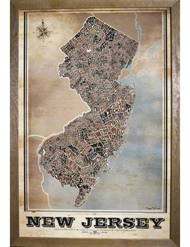 NJ Full State Type Map Vintage 24x36