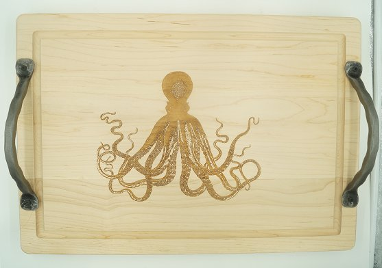 Cutting Board 20x14 Octopus Handles