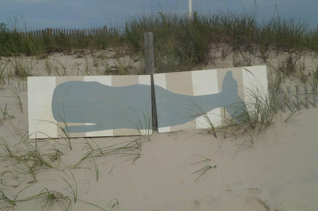 2 Panel 2x8 Whale Palladian Blue, Beige, & White Stripes Background