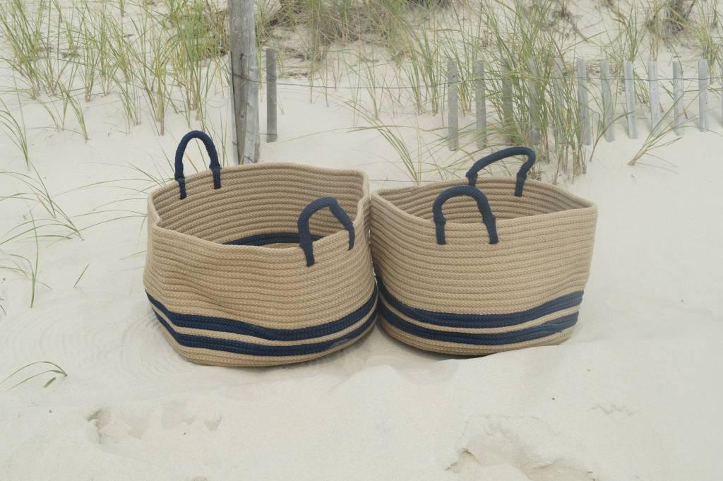 Beige& Navy Banded Round Basket