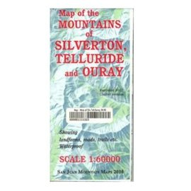 Map of the Mountains of Silverton, Telluride and Ouray