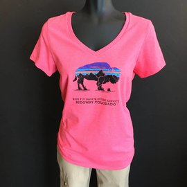 Patagonia Patagonia Women's Fitz Roy Bison Cotton/Poly V-Neck T-Shirt - RIGS Logo - Cerise
