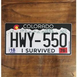 70s CO Plate - I Survived 550 Sticker
