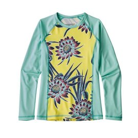 Patagonia Girls' Longsleeve SW Rashguard - Cereus Flower - Spire Yellow