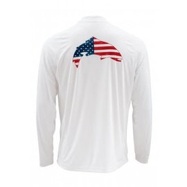 Simms Fishing Simms Solarflex LS Crewneck Prints - USA Trout - White
