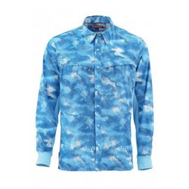 Simms Fishing Simms Intruder Bicomp Long Sleeve Shirt - Hex Camo Sky Blue