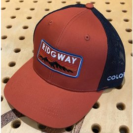 Ridgway Heavy D Poly Mesh Snap Back Cap - Rust/Navy