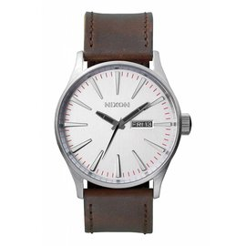 Nixon Nixon - SENTRY LEATHER - Silver/Brown