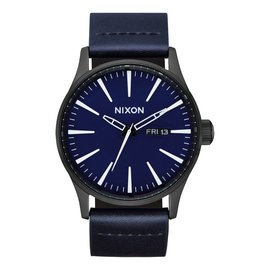 Nixon Nixon - SENTRY LEATHER - All Black/Dark Blue