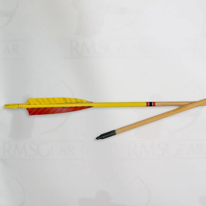 """USED - 28"""", 55# Fletched Wood Arrows with Cresting - USED2855KN"""