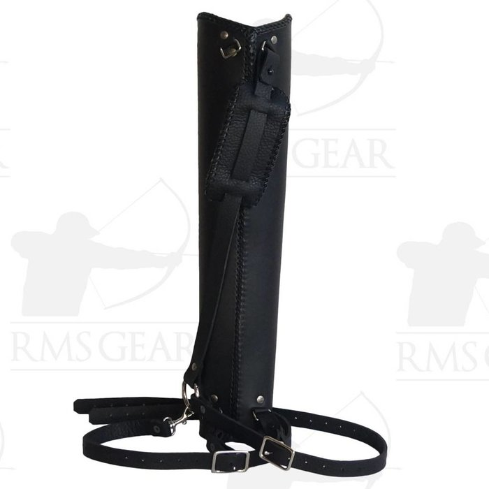 Simple Black Leather Back Quiver - SBBQBE