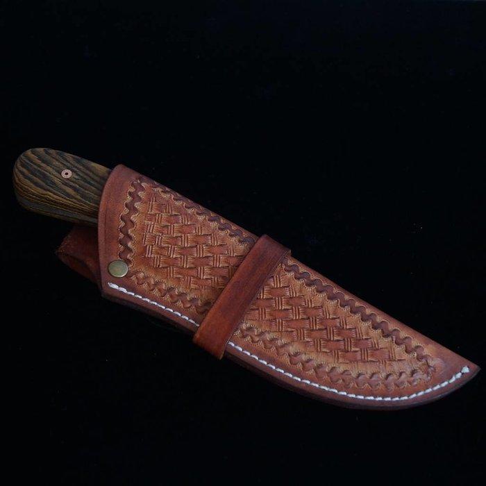 Wolf Track Damascus Custom Knife - WT126DG