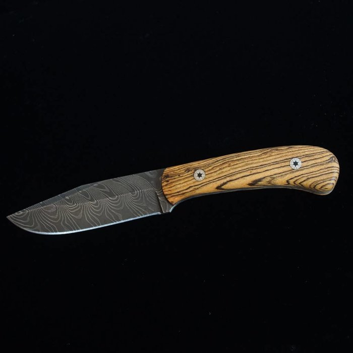 Wolf Track Damascus Custom Knife - WT130DG