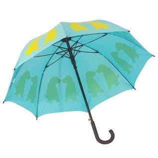 San Francisco Umbrella Animal Umbrella - Labrador Puppies - Aqua/Yellow
