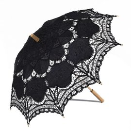 VTC Black Battenburg Lace Parasol