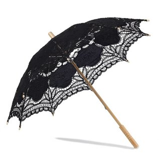 VTC Black Battenburg Lace Parasol