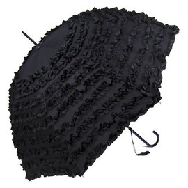 VTC Black Ruffled Rain Umbrella
