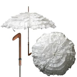 Vista Ruffled White Water Proof Parasol