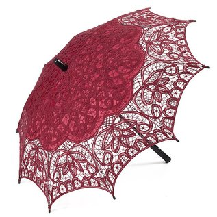 Goldenstate Lace Parasol Wine Red