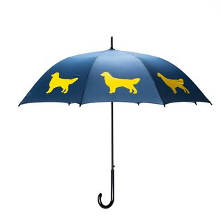 San Francisco Umbrella Animal Umbrella - Golden Retriever - Navy/Yellow w/Sleeve