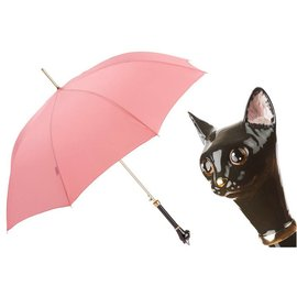 Pasotti Italian Pink Umbrella with a Cat Handle